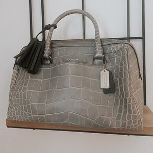 Embossed Croc Leather Coach Satchel